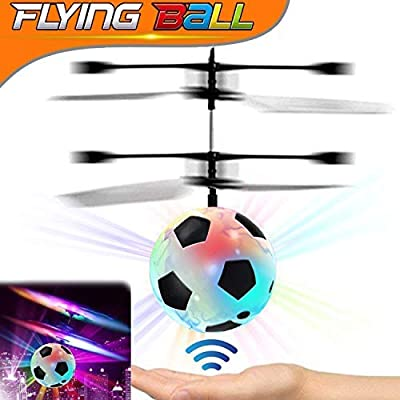 Kids Flying Ball, RC Flying Toy with Led Light up Toys Infrared Induction Helicopter Drone Parachute Boys Girls Adults Floating Novelty Gag Stress Relieve Toys Outdoors Halloween: Toys & Games