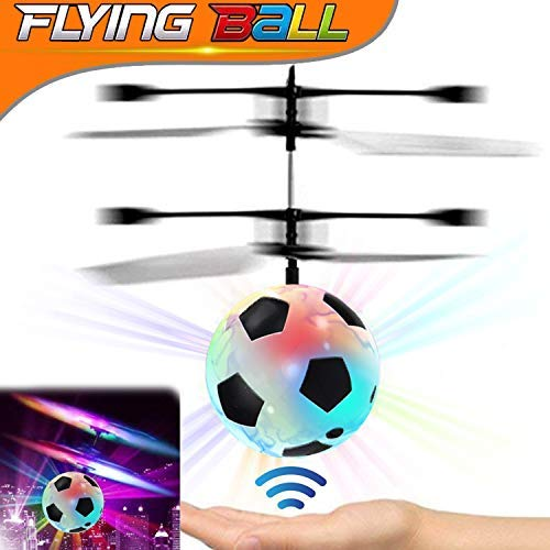 Kids Flying Ball, RC Flying Toy with Led Light up Toys Infrared Induction Helicopter Drone Parachute Boys Girls Adults Floating Novelty Gag Stress Relieve Toys Outdoors Halloween (Soccer Helicopter Ball)