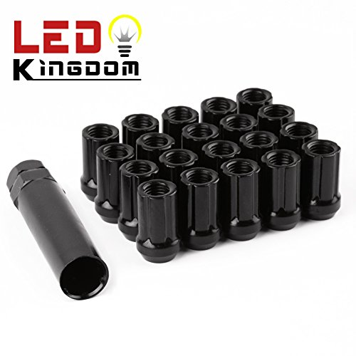 LEDKINGDOMUS Black 12x1.5 Open End Bulge Acorn Wheel Lug Nuts 1.3