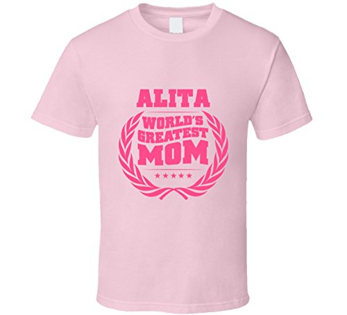 SHAMBLES TEES Alita World's Greatest Mom First Name Best Mother's Day Gift Idea T Shirt L Light Pink -