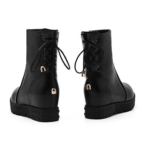 Allhqfashion Femmes Bout Fermé Fermeture Éclair Haut-kitten-heels Solide Pu Boots Noir