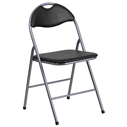 (Flash Furniture HERCULES Series Black Vinyl Metal Folding Chair with Carrying Handle)