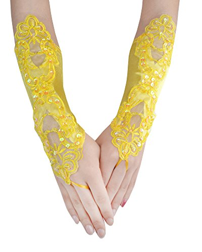 JISEN Women Banquet Party Fingerless Elegant Lace Embroidered Bridal Gloves 11 Inch Yellow