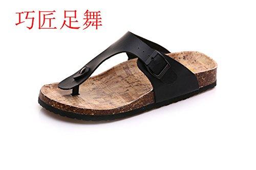 flop on XIAMUO di coreane Set slip Estate sandali cork piatto donne flip pantofole bambini's clip Le antiscivolo spiaggia nere 41 di f4FfT