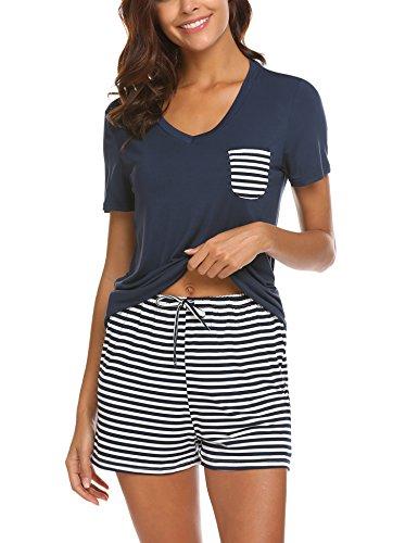 - Adornlove 2 Piece Pajamas Sets V Neck Tops Striped Pants Cotton Nighty Loungewear PJ Sets (Navy, Small)