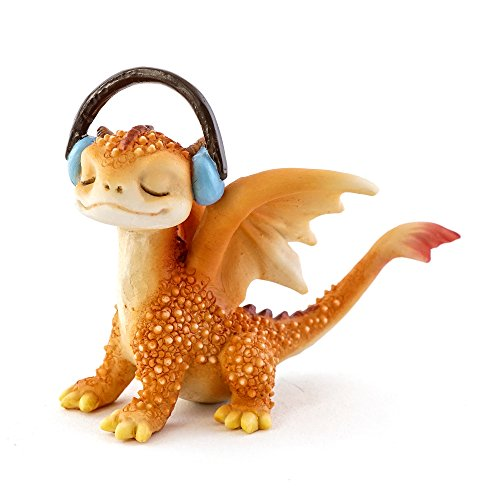 (Top Collection Solar The Red Dragon - Rocking Out, 2.75-Inch Cute Magic Dragon Statue, Mini Collectible Fantasy Figurine)