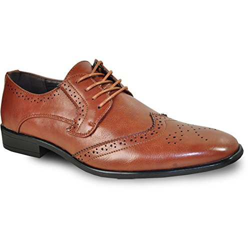 Brown Leather Wingtip - Bravo! Men Dress Shoe King-2 Classic Wingtip Oxford with Leather Lining - Wide Width Available
