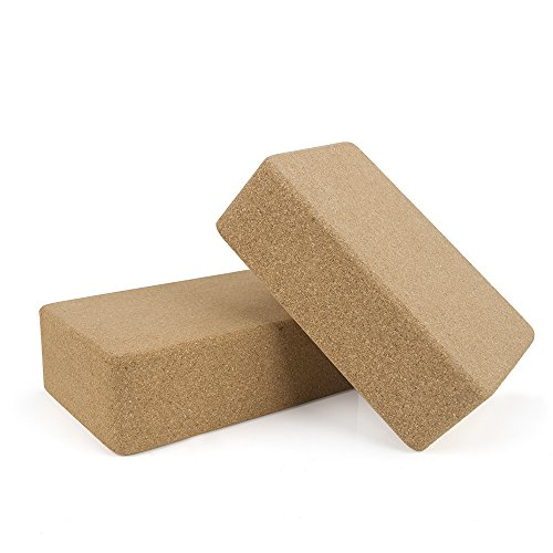 GOGO Set of 2 Cork Wood Yoga Blocks/Non Slip Cork Yoga Blocks for Support, Balance & Comfort-4 in