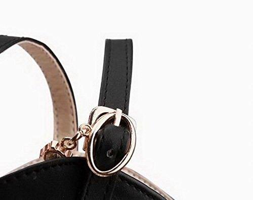 Noir AalarDom Unie d'orteil Sandales Talon Boucle TSFLH007017 Couleur à Haut Femme Ouverture OxP7OwrnTq