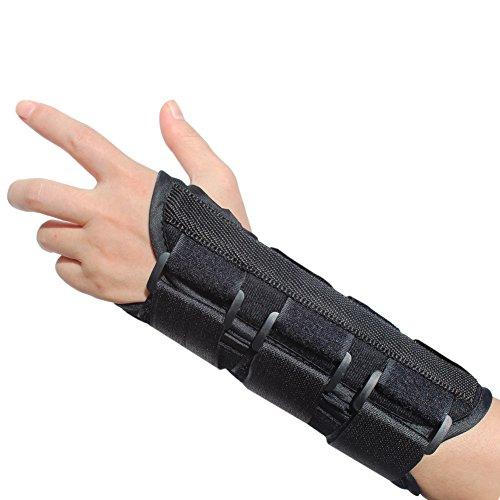 Metal Guard Cast (KNASI Carpal Tunnel Syndrome Night Wrist Support Brace,Right and Left Hand Orthopedic Wrist Fracture Splint Arm Brace for Tendonitis Arthritis,Adjustable Wrist Guards Women Man (New Left, Medium))