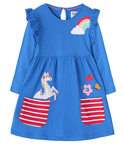 Fiream Cartoon Cotton Kids Dresses Longsleeve Toddler Girls Casual Fashion Dresses(JP003,2T/2-3YRS)