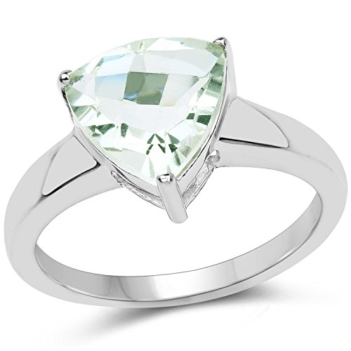 Genuine Checkerboard Green (Genuine Checker board trillion Prasiolite (Green Amethyst) Ring in Sterling Silver - Size 6.00)