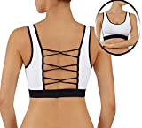 ROUGHRIVER Women's Yoga Top Sports Bra with Removable Pads Breathable Loop Criss CROS Back Tank Bra (L 36-38, RRB615-WHT) Review
