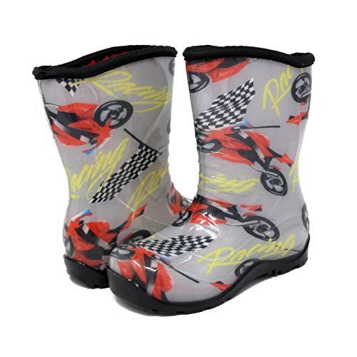 - Pally Kids Moto Grand Prix Rain Boots, Gray \ Red,11 M US Little Kid
