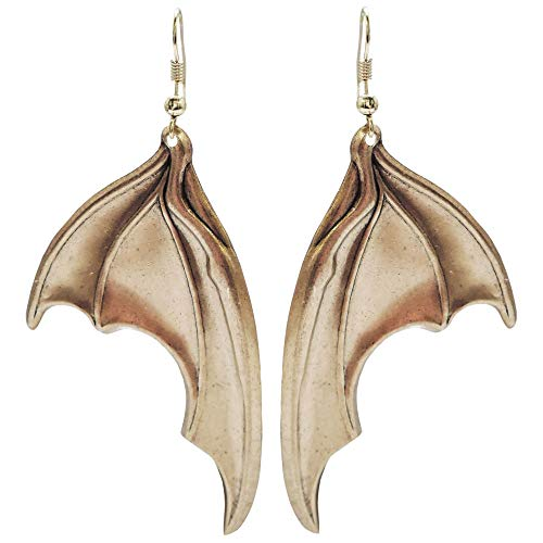 (G.O.T. Inspired Bat, Dragon, Mythological Creature Wings Earrings, U.S.A, Oxidized Bronze Earrings in Gold Tone with Antique)