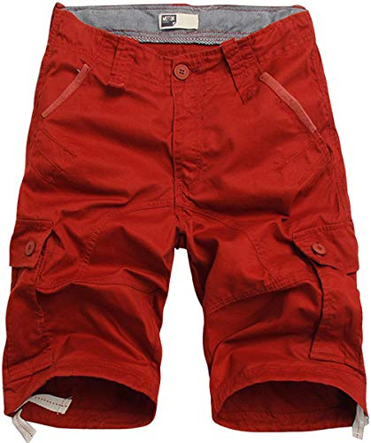 Flora Florida Men's Cargo Shorts Cotton Casual Relaxed Fit Multi - Pocket (44/Waist:43.9'', Jujube Red)