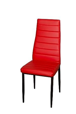 BUDMOSUR Silla de comedor moderna, color rojo fuego.: Amazon.es: Hogar