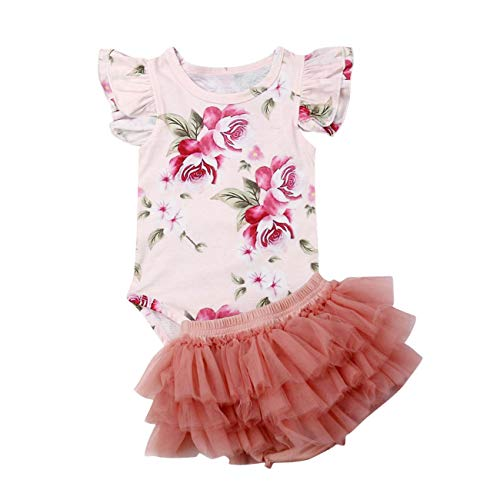 Baby Girls Floral Shorts Set Toddler Girl Ruffle Sleeve Romper + Mesh Bloomers Shorts 2pcs Summer Outfits (Floral, 18-24 Months)