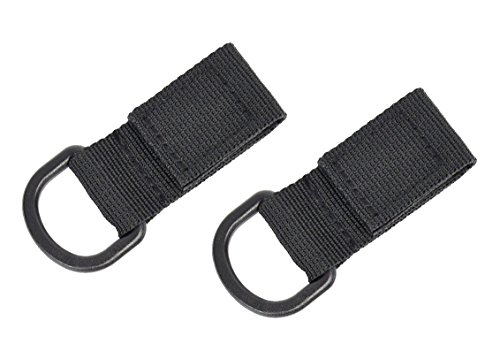 Partstock 2-Pack Tactical Molle D Type Nylon Velcro,Backpack Accessories, T-Ring Kettle Key Holder,for Molle Bags Webbing Attachment Strap.(Black) (Velcro Type)