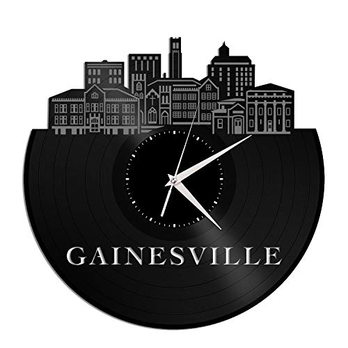 VinylShopUS - Gainesville FL Vinyl Wall Clock City Skyline Anniversary Unique Gift Office Home | Bedroom -