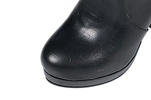 ABL09685 Womens Penny Loafer Zipper Heel Black Boots Urethane Solid BalaMasa High Platform Rfvq66Cw