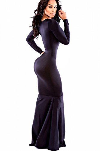 NEW Mesdames noir Sirène longue robe de soirée cocktail party danse Wear Taille 10–12EU 38–40