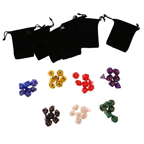 MonkeyJack Number Multisided 7 Colors Dices Set Kids Adult D&D RPG Game Different Colors W/ Bags by MonkeyJack