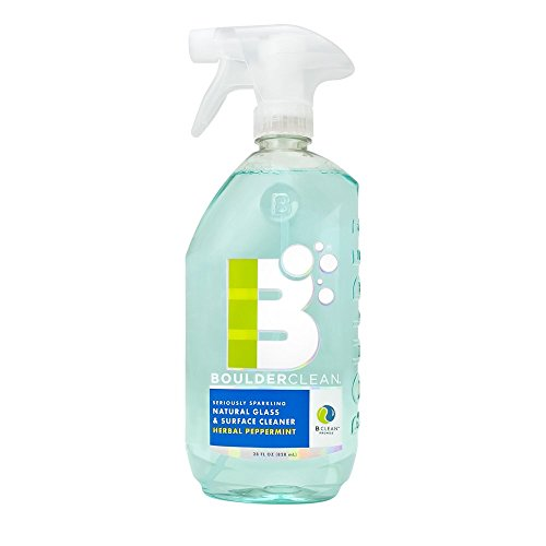 Boulder Clean Natural Glass & Surface Cleaner, Herbal Peppermint, 28 oz (Pack of 4)