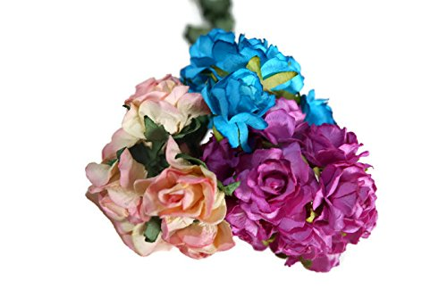(N.2) 40 pcs Mini Rose Mixed Pink, Blue,Purple Colors Mulberry Paper Flower 25mm Scrapbooking Wedding Doll House Supplies Card by' Thai Decorated