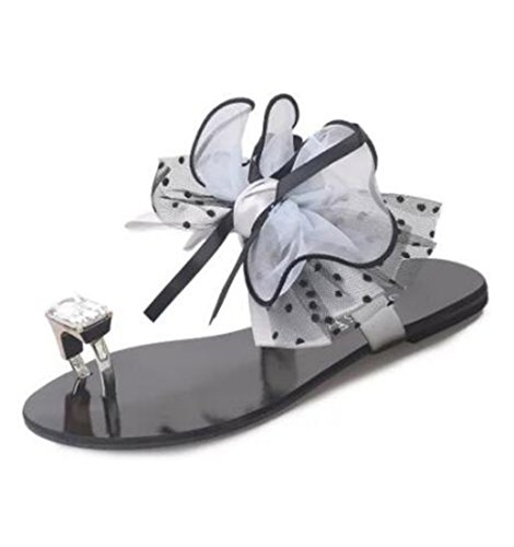 Flop Tobillo Zapatos Sandalias Casuales Peep Para El Toe Crystal Para Gray Floral Planas Tacón Verano Bajo Sweet Con Mujer Zapatillas Flip Correa qqgPF