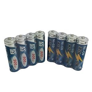 KINSUN 8-Pack Rechargeable Batteries 1.2V Ni-Cd AA 900mAh for Outdoor Solar Garden Lights