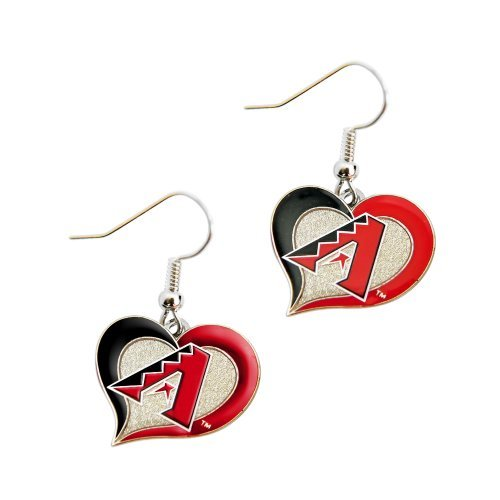 MLB Arizona Diamondbacks Team Logo Swirl Heart Earring Sports Fan Gift (Arizona Diamondbacks Team Sports Fan)