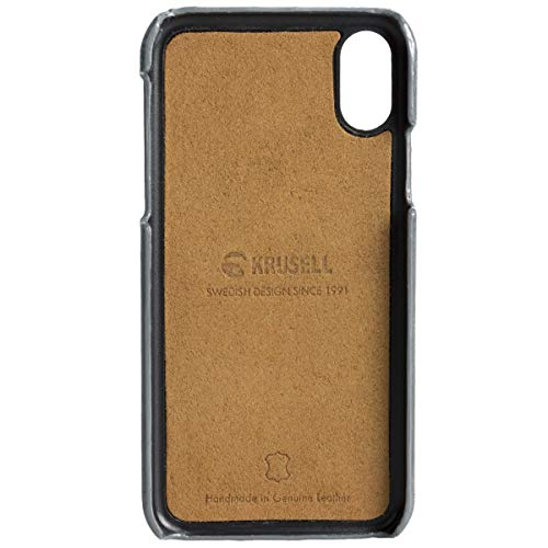 Krusell Sunne 2 Card Wallet Case for Apple iPhone XR - Premium Leather Case, Vintage Grey (61471) (Renewed)