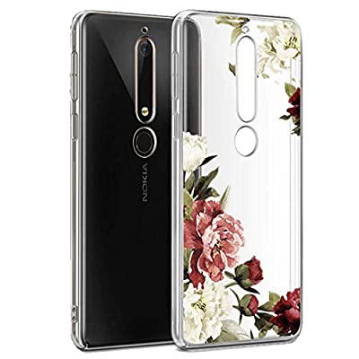 Nokia 6.1 Case, Nokia 6 2018 Case with Flowers, Booceicd Shockproof Clear Floral Pattern Soft Flexible TPU Back Slim Case Cover for Nokia 6.1 (2018) by Booceicd