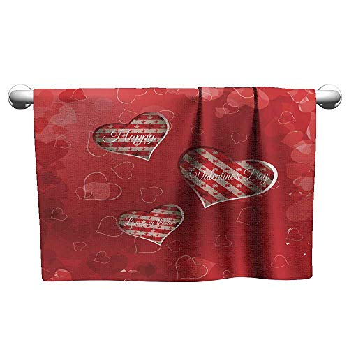 Tankcsard Baby Bath Towel Vector Happy Valentine s Day Gradient Background with Cutout red Heart,Hooded Beach Towel for Toddler