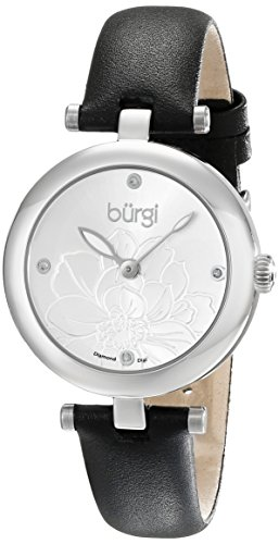 Burgi Women's BUR128SSB Diamond Accented Flower Dial Silver & Black Leather Strap Watch