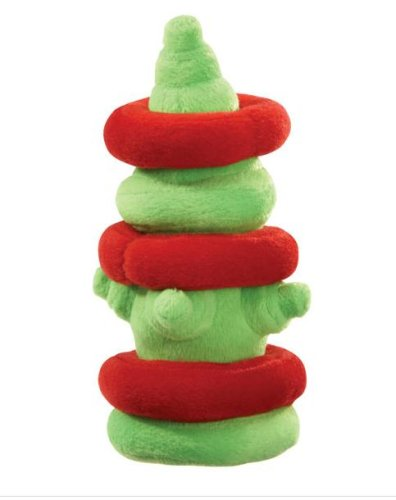 Dog Toy - Grriggles Merry Puzzler Plush Hydrant with Removable Rings - Green