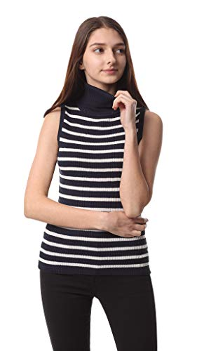 Sofishie Sleeveless Ribbed Turtle Neck Sweater Tunic - White Blue - Small