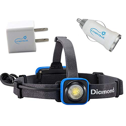 Black Diamond Sprinter Rechargeable Headlamp Bundle with Lumintrail USB Car and Wall Adapters