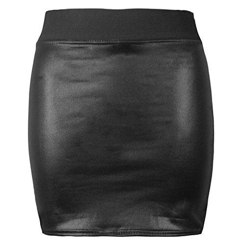 Mini Look Grande Taille Midi Jupe Effet Wet Wiggle Femmes Skirt Crayon Cuir Extensible lastique Faux Ajust Femmes Ceinture Mouill aO6pOxwT