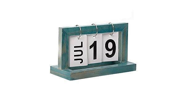 Calendario perpetuo tir/ón Oficina de Escritorio del Calendario del Calendario de Escritorio Innovador DIY de paginaci/ón de Madera Decoraci/ón Artesan/ía Azul