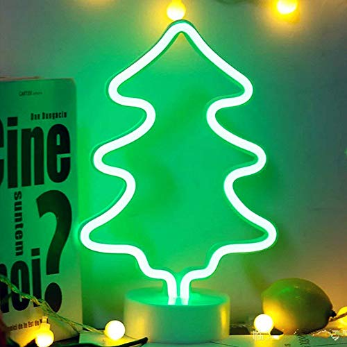 (LED Pine Neon Light Neon Signs with Base, XIYUNTE Battery Powered Pine Neon Light Sign Light up Green Pine Neon Sign Night Lights for Kids Bedroom  Decoration)