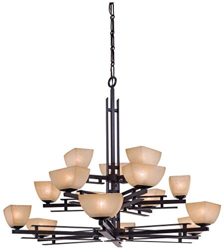 Cheap Minka Lavery Chandelier Pendant Lighting 1278-357, Lineage Glass 3 Tier Dining Room, 15 Light, 750 Watts Halogen, Iron