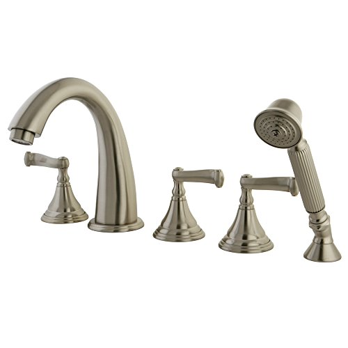 Kingston Brass KS53685FL Royale Roman Tub Filler with Hand Shower, Brushed Nickel, 5-Piece