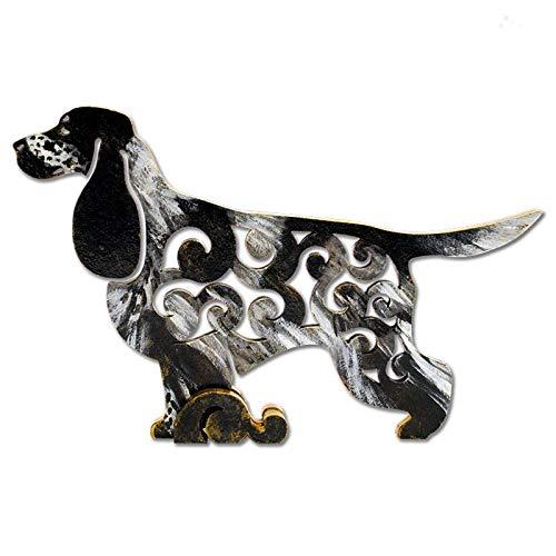 Spaniel Black Cocker Figurine (English Cocker Spaniel black/white Dog, dog figurine, dog statue made of wood (MDF), statuette hand-painted)