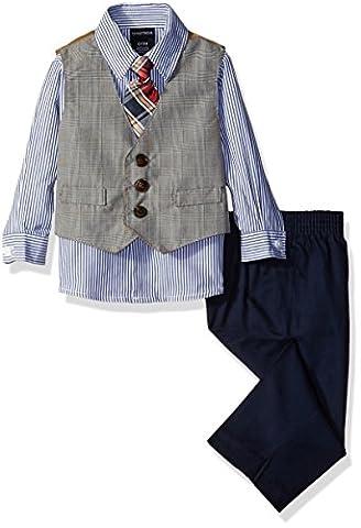 Nautica Baby Glen Plaid Vest Set, White, 12 Months