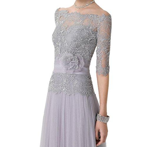 Festlichkleider Langes Violett Kleider Abendkleider Brautmutterkleider mit Damen Ballkleider Jugendweihe Charmant Bolero qX5U41w
