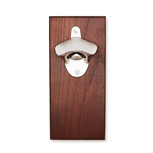 Jung Ford Beer Bottle Opener with Cap Auto-Catcher, Strong Magnet for Fridge Mount, Strip Tapes for Wall Mount, Made of Zinc Alloy and Wood