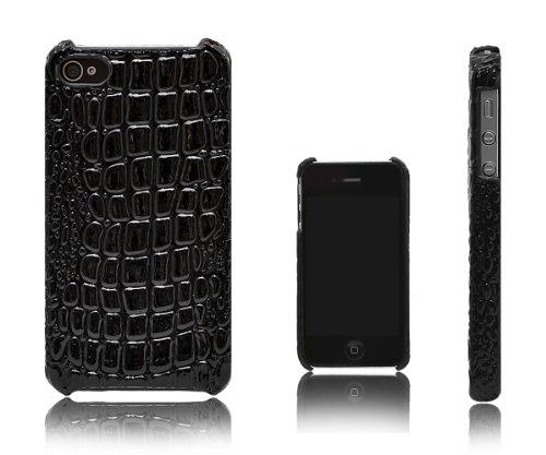 Xcessor Crocodile Haut Wirkung Hartplastik Schutzhülle Für Apple iPhone 4 4S. Schwarz
