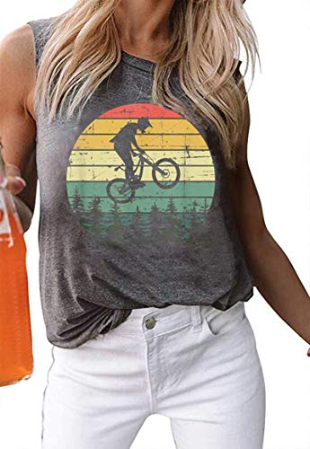 - EGELEXY Vintage Graphic Print Mountain Bike Tank Tops for Womens Summer Casual Sleeveless T Shirt Vacation Vest Tops Size S (Gray)